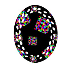 Flying  colorful cubes Ornament (Oval Filigree)