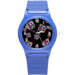 Flying  colorful cubes Round Plastic Sport Watch (S)