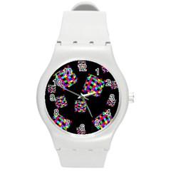 Flying  colorful cubes Round Plastic Sport Watch (M)