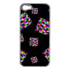 Flying  colorful cubes Apple iPhone 5 Case (Silver)