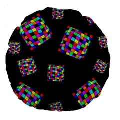 Flying  colorful cubes Large 18  Premium Round Cushions