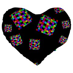 Flying  colorful cubes Large 19  Premium Heart Shape Cushions