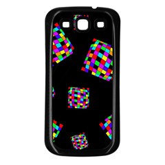 Flying  colorful cubes Samsung Galaxy S3 Back Case (Black)