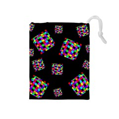 Flying  colorful cubes Drawstring Pouches (Medium)