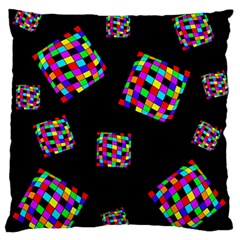 Flying  colorful cubes Large Flano Cushion Case (One Side)