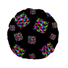 Flying  colorful cubes Standard 15  Premium Flano Round Cushions