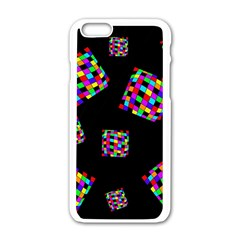 Flying  colorful cubes Apple iPhone 6/6S White Enamel Case