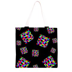 Flying  colorful cubes Grocery Light Tote Bag