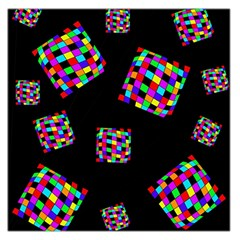 Flying  colorful cubes Large Satin Scarf (Square)