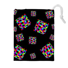 Flying  colorful cubes Drawstring Pouches (Extra Large)