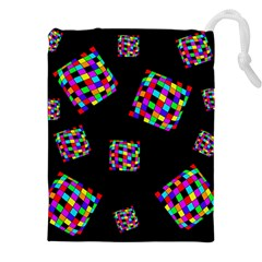 Flying  colorful cubes Drawstring Pouches (XXL)