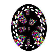 Colorful abstraction Oval Filigree Ornament (2-Side)