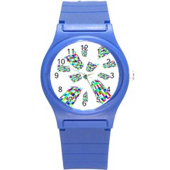 Colorful abstraction Round Plastic Sport Watch (S)