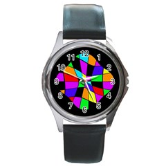Abstract colorful flower Round Metal Watch
