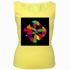 Abstract colorful flower Women s Yellow Tank Top