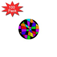 Abstract colorful flower 1  Mini Magnets (100 pack)