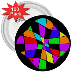 Abstract colorful flower 3  Buttons (100 pack)