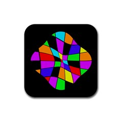 Abstract colorful flower Rubber Coaster (Square)