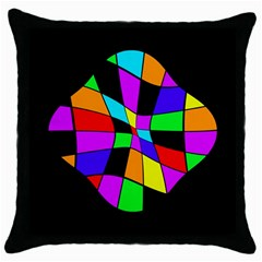 Abstract colorful flower Throw Pillow Case (Black)