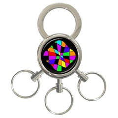 Abstract colorful flower 3-Ring Key Chains