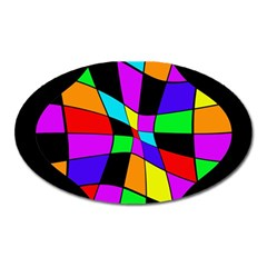 Abstract colorful flower Oval Magnet