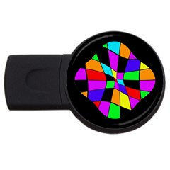Abstract colorful flower USB Flash Drive Round (1 GB)