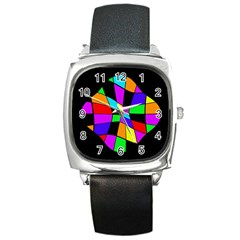 Abstract colorful flower Square Metal Watch