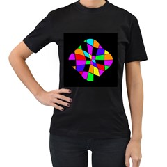 Abstract colorful flower Women s T-Shirt (Black) (Two Sided)