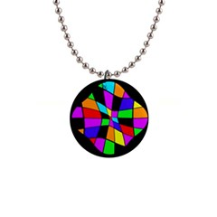 Abstract colorful flower Button Necklaces