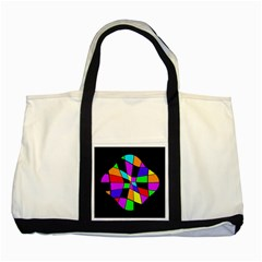 Abstract Colorful Flower Two Tone Tote Bag