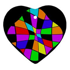 Abstract colorful flower Heart Ornament (2 Sides)