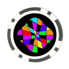 Abstract colorful flower Poker Chip Card Guards