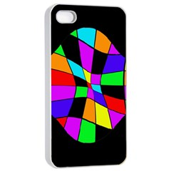 Abstract colorful flower Apple iPhone 4/4s Seamless Case (White)