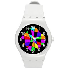 Abstract colorful flower Round Plastic Sport Watch (M)