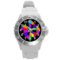 Abstract colorful flower Round Plastic Sport Watch (L)