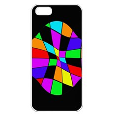 Abstract colorful flower Apple iPhone 5 Seamless Case (White)