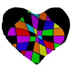 Abstract colorful flower Large 19  Premium Heart Shape Cushions