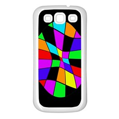 Abstract colorful flower Samsung Galaxy S3 Back Case (White)
