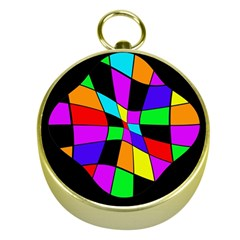 Abstract colorful flower Gold Compasses