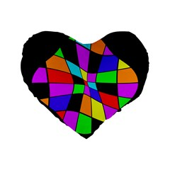 Abstract colorful flower Standard 16  Premium Flano Heart Shape Cushions