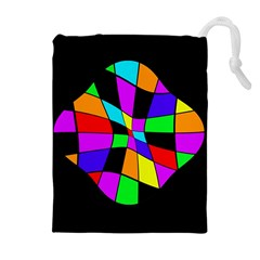 Abstract Colorful Flower Drawstring Pouches (extra Large)