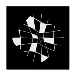 Black and white abstract flower Tile Coasters