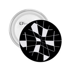 Black and white abstract flower 2.25  Buttons