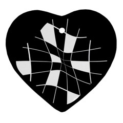 Black and white abstract flower Ornament (Heart)