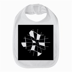 Black and white abstract flower Bib