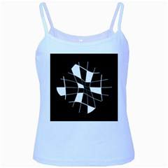 Black and white abstract flower Baby Blue Spaghetti Tank