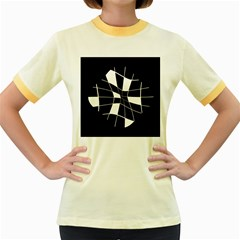 Black and white abstract flower Women s Fitted Ringer T-Shirts