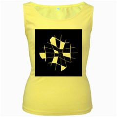 Black and white abstract flower Women s Yellow Tank Top