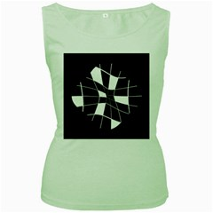 Black and white abstract flower Women s Green Tank Top