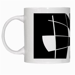 Black and white abstract flower White Mugs